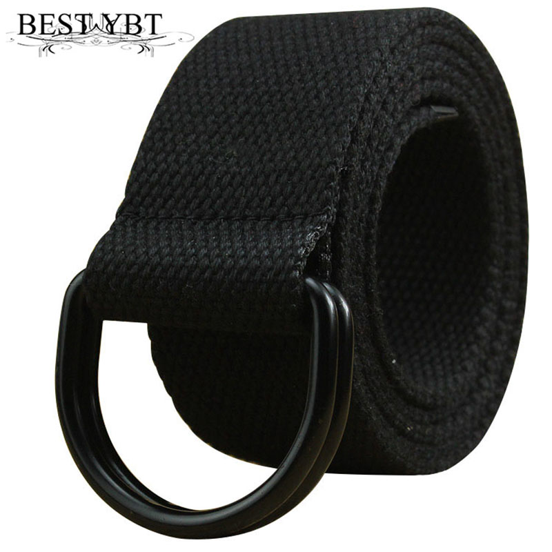 Best YBT Unisex Belt Canvas Alloy Double Ring Buckle Women Belt Army Tactical Adjustable Outdoor Sports Casual Fashion Men Belt