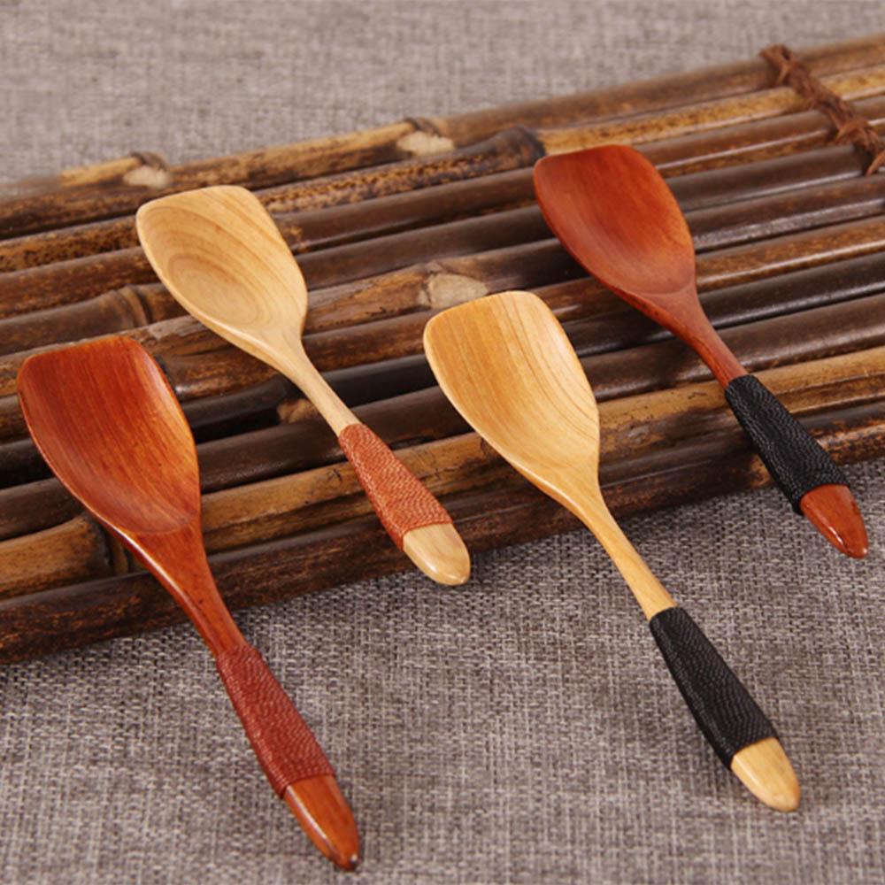 Wooden Spoon Long Handle Rice Soup Dessert Ice Cream Spoon