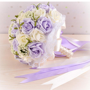 Image 3 - Beautiful Purple Wedding Bouquet Handmade Bridal Flower Wedding Bouquets Artificial Pearls Flower Rose Bouquet