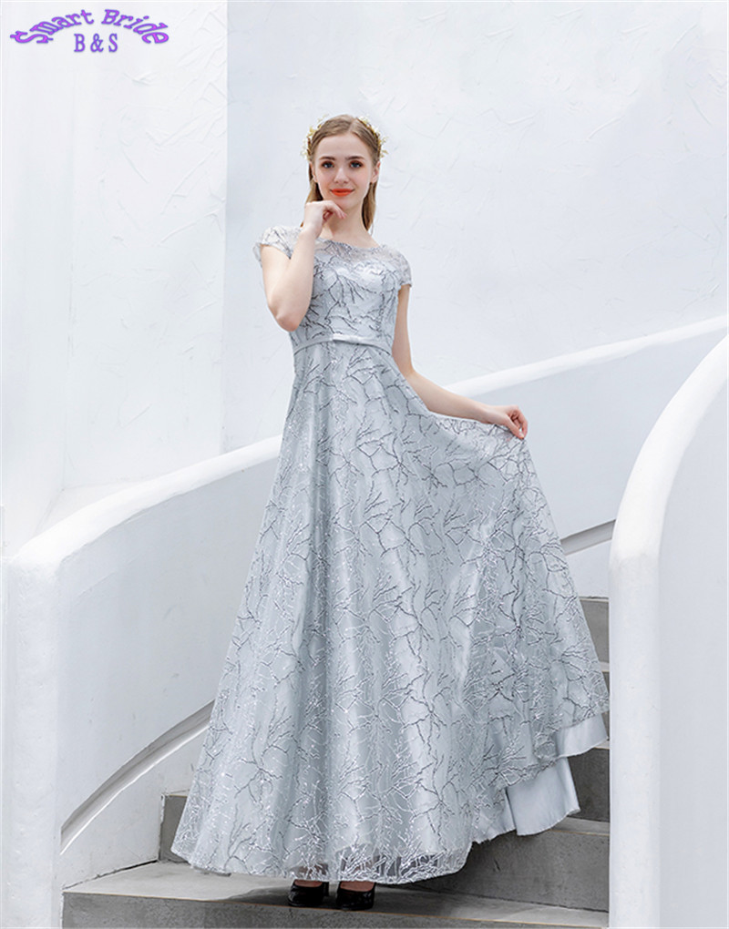 Long   Evening     Dresses   A-line O Neck Women Birthday Party Luxury Formal   Dress   2019 In Stock LY75