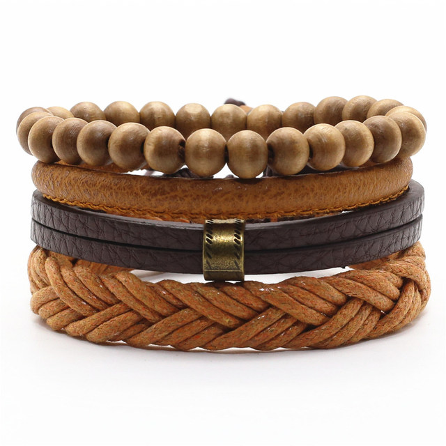 Four Layers Women Bracelet with Wood, Leather and Hemp Rope Combination