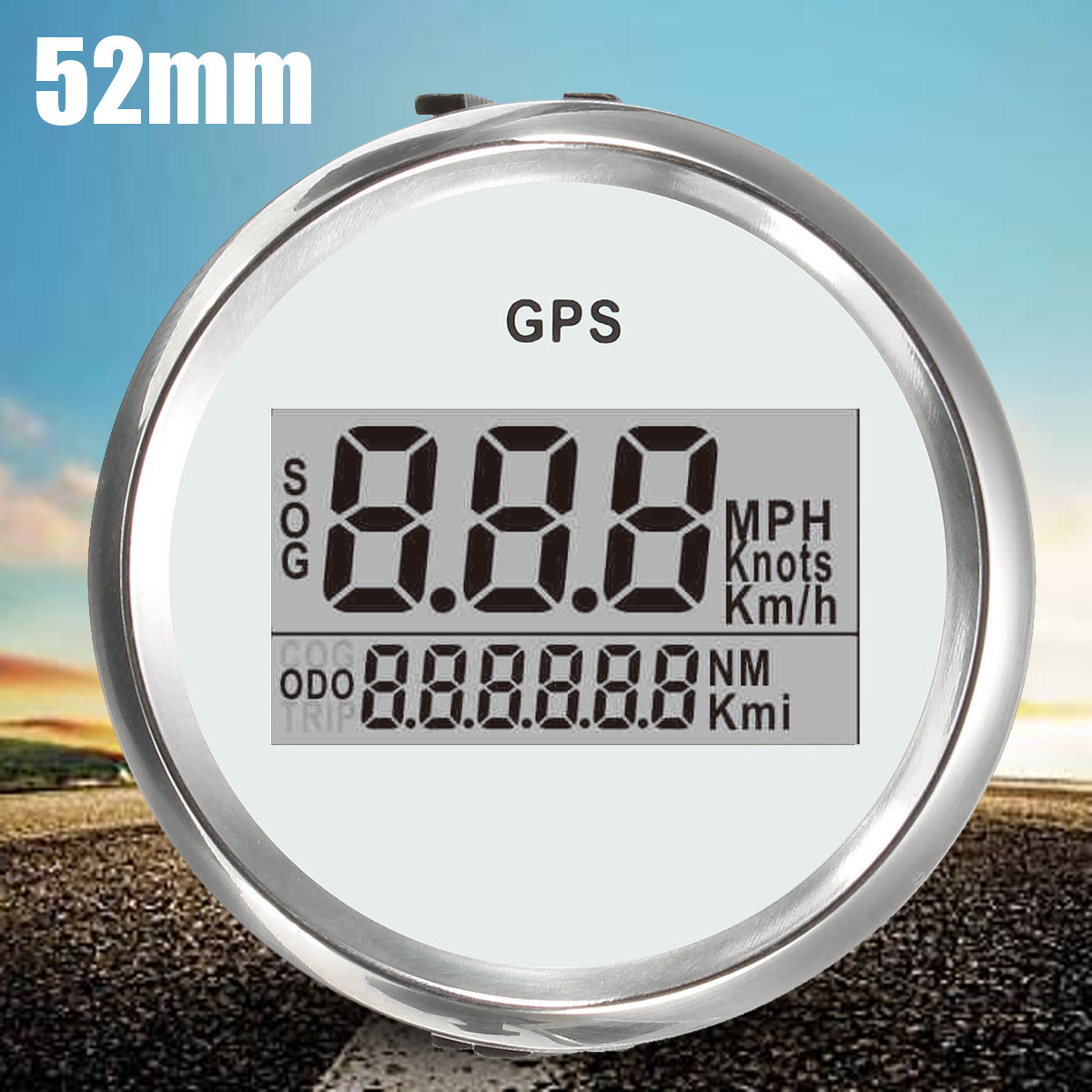 Car Truck Digital GPS Speedometer Gauge 0-999Knot 316L Multi-Colored Bezel Dial LCD Speed Gauge fit Boat Car GPS Speedometer52mm 85mm car gps speedometer truck boat digital lcd speed gauge knots compass with gps antenna