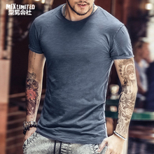 2018 Summer new Bamboo cotton men top tees Breathable Men Underclothes Solid color O Neck slim fit Short Sleeve T shirt brand