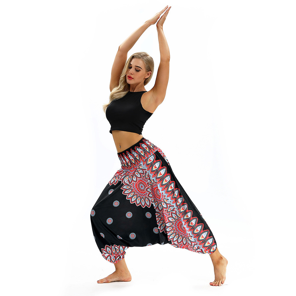 Women Men Pants Casual Woman High Waist Wide Leg Harem Trousers Baggy Boho Loose Aladdin Festival Hippy Jumpsuit Print Lady pant 90