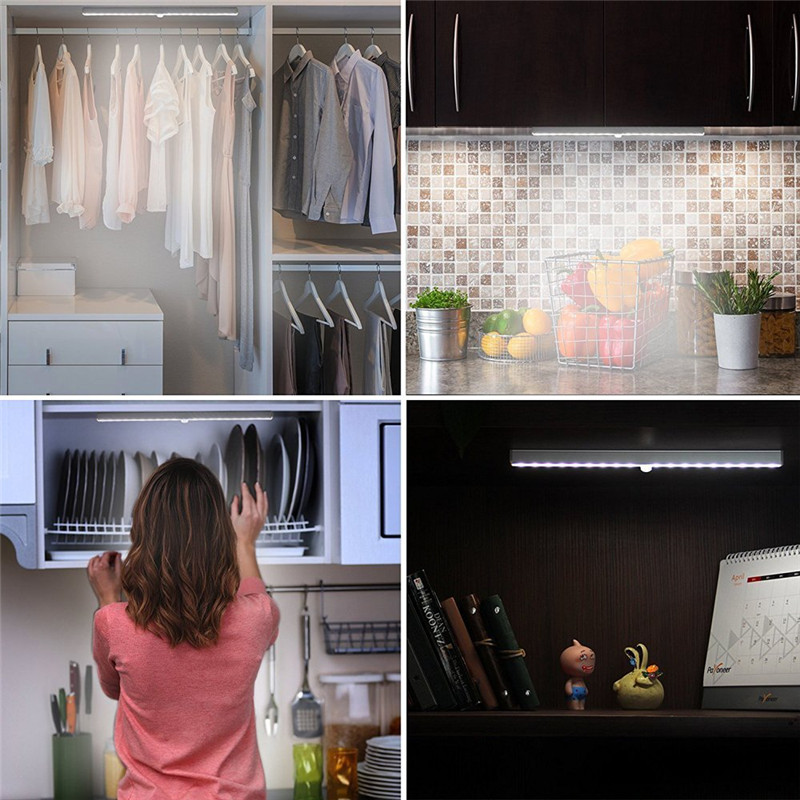 ZjRight NEW 20 LED Lights Energy saving Auto Motion Sensor Wireless PIR cabinet Kitchen bedroom Wardrobe indoor Stair wall lamps