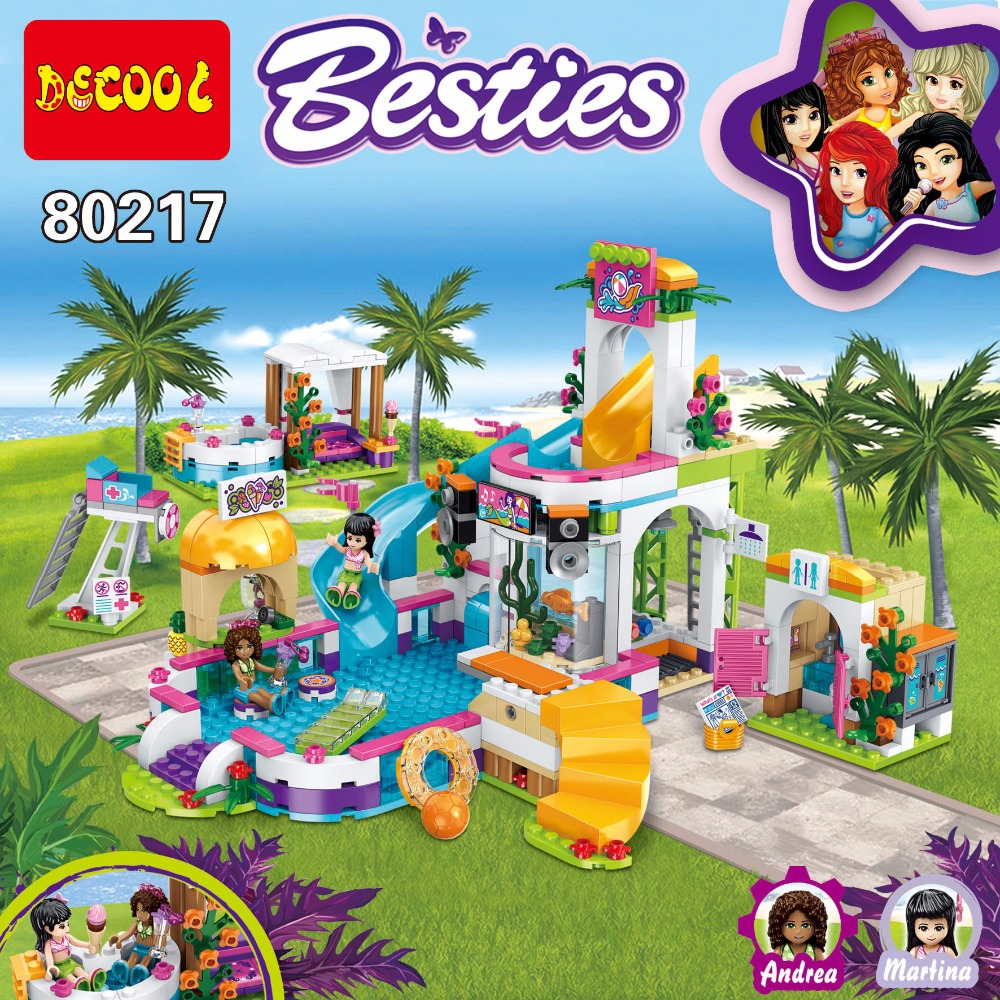 80217 Compatible with Lego Friends 41313 01013 589pcs building blocks The Heartlake Summer Pool Bricks figure toys for children lepin building blocks model 01013 compatible legoing friends summer swimming pool 41313 educational toys for children