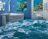 Beibehang Custom Interior Decoration Painting Beautiful Wallpaper Sea Water Spray Bathroom Three Dimensional 3d Flooring Tapety
