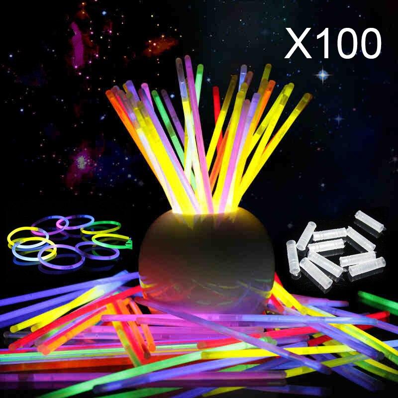 100 unids 8 colores Luz Del Palillo Del Resplandor Pulseras Collar Fiesta de Cum
