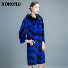 HDHOH 2017 New Real Mink Fur Coats Women Natural Noble Blue Kintted Jackets  For Female Fashion Silm Parkers