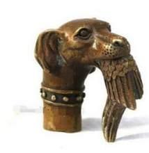 Yu boa sorte velho qing chinês bronze de cobra puro esculpida mordida pássaros bangala crutches cabeça