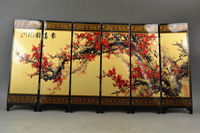 ( Mini ) Exquisite Chinese Classical Red Plum Lacquer Painting Wooden Folding Screen