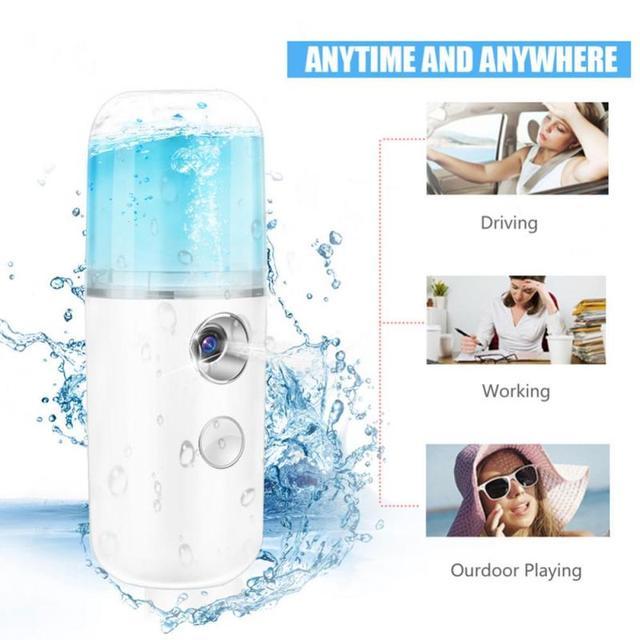 30ml USB Handy Nano Mist Spray Atomization Mister Face Cold Sprayer Facial Moisturizing Facial Body Nebulizer Steamer Sprayer