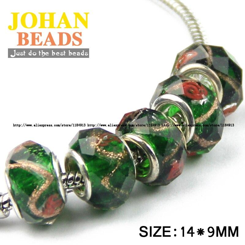 21b726815d15 Jhnby agujero grande europeo Cuentas estilo 14mm moda encanto cristal verde  Cuentas 10 unids ronda del grano flojo pulsera de la bola y la joyería del  ...
