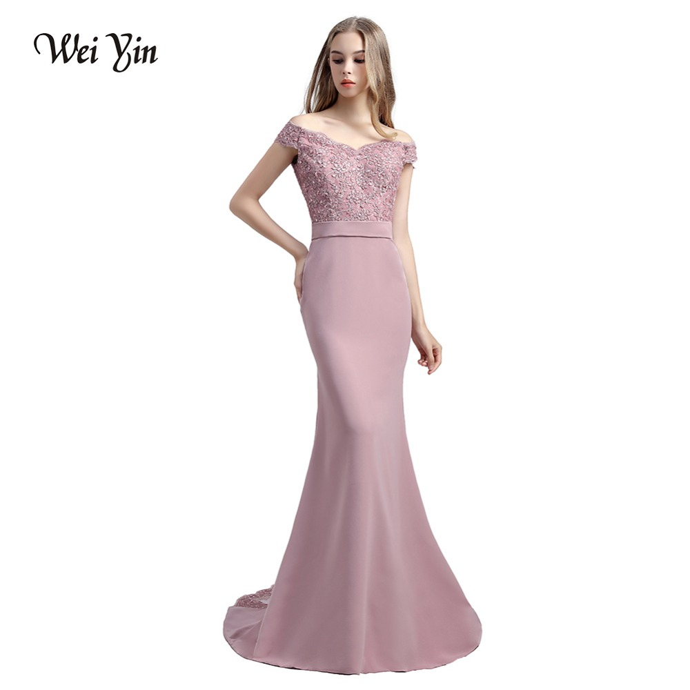 WeiYin Vestido De Festa Pink Mermaid Lace Top Bodice Slim Line Long Bridesmaid Dresses Fast Shipping Charming Wedding Party Gown