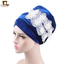 New Fashion luxury Women Velvet Long Turban Headband 3D beaded flower velvet Muslim Hijab Scarf Turbante Tie Headwrap