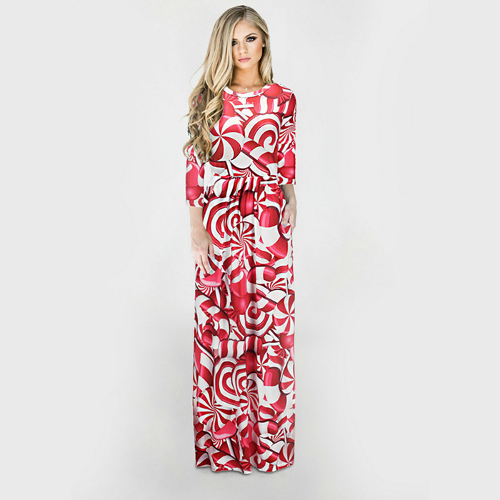 ecbd329a7d S 3XL Winter Women Christmas Dress Long Sleeve Christmas Tree Snowman  Printed Long Maxi Bodycon Party Dress Vestidos Plus Size -in Dresses from  Women s ...