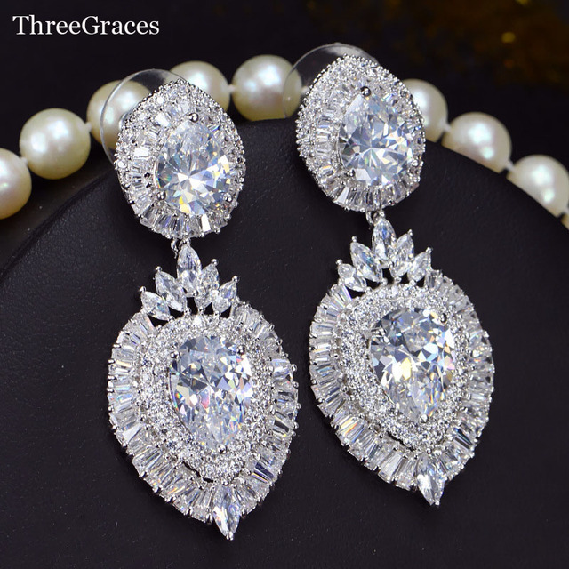 Threegraces Jewelry Elegant Women Bridal Accessoies Sparkling Cubic Zirconia Teardrop Earrings For Wedding Party Er246