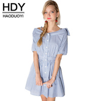 HDY Haoduoyi Casual Summer Dress Women Clothes 2018 Sexy Off Shoulder A Line Mini Dresses Striped