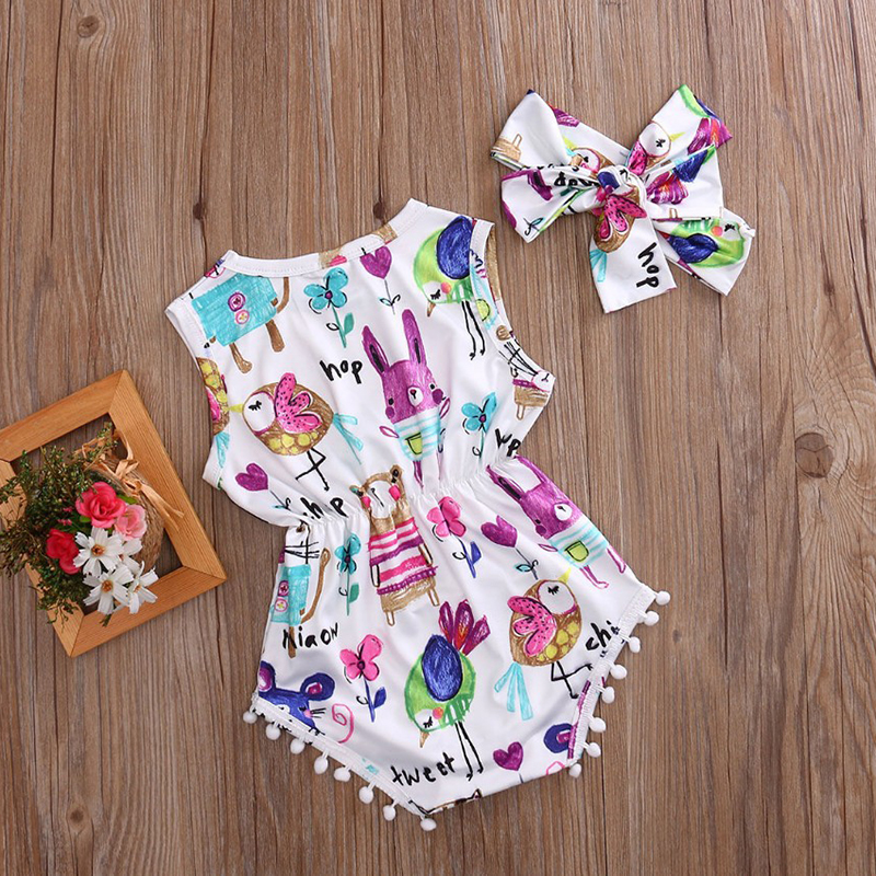 Witspace Toddler Baby Girls Romper Jumpsuit Playsuit Infant Headband Clothes Outfits Set