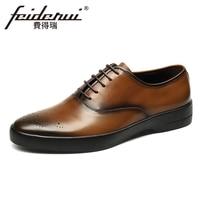 Vintage Formal Dress Genuine Leather Men S Oxfords British Round Toe Handmade Office Flat Platform Brogue