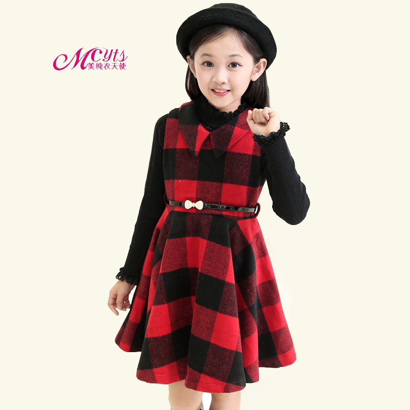 Girls Plaid Princess Dress Spring Autumn Children Clothing Casual Girls Christmas Dresses for 4 6 8 10 12 13 Years Kids Clothes children s spring and autumn girls bow plaid child children s cotton long sleeved dress baby girl clothes 2 3 4 5 6 7 years