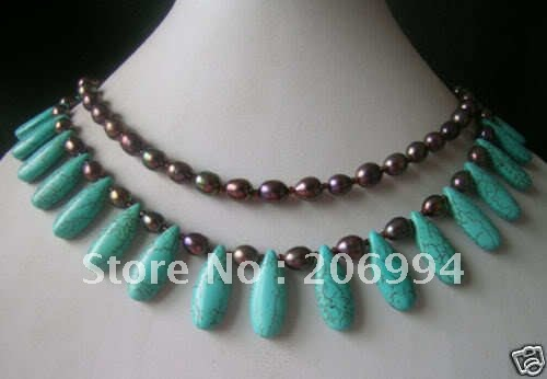 wholesales design 2Rows Turquoise brown Freshwater Cultured Pearl