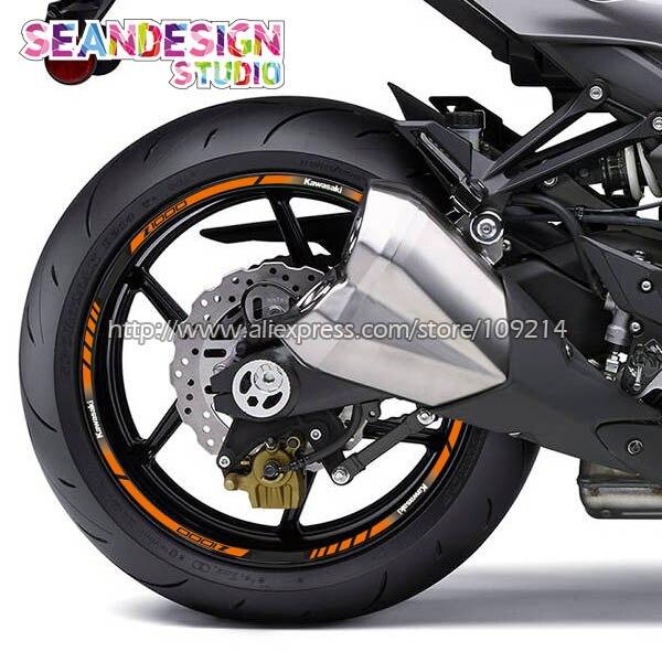Prix pour Pour Kawasaki Z1000 Z800 Moto Roue Autocollant Décalque Réfléchissant Jante Vélo Adapté