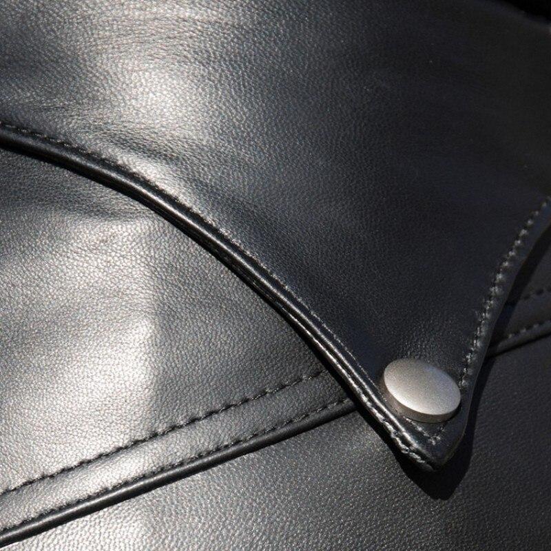 In Pelle di alta Qualità di Lunghezza Della Caviglia Dei Pantaloni Delle Donne Streetwear Sottile Pelle di Pecora Pantaloni Della Matita Elegante di Lusso In Vera Pelle Nera Pantaloni - 6