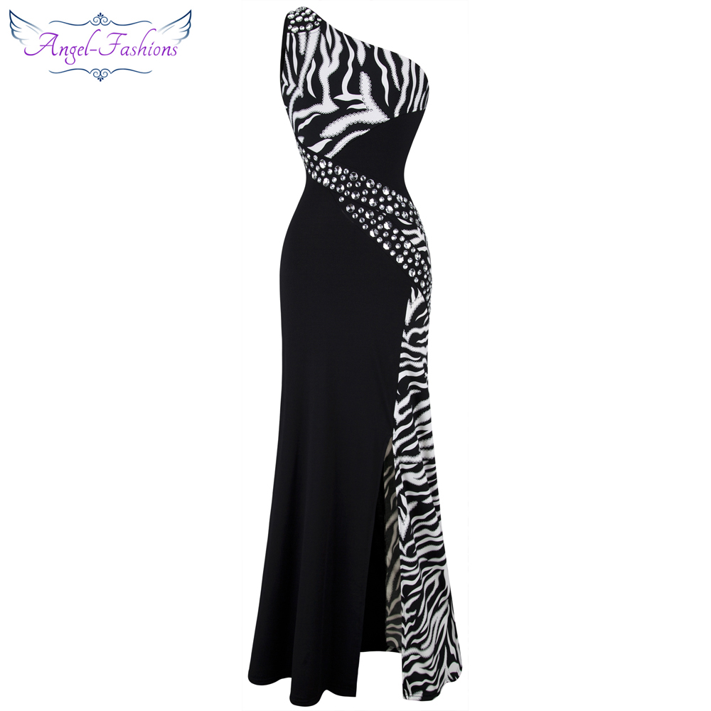 Angel fashions One Shoulder Zebra Gemstones Stitching Evening Dress Black Ballkleid 072