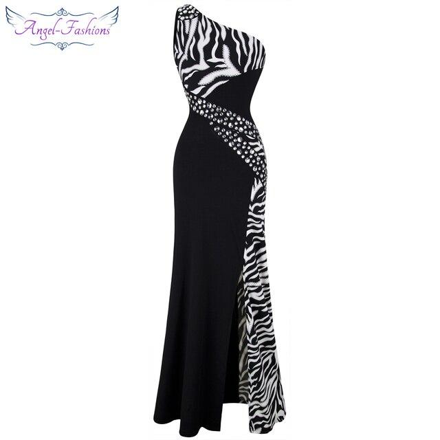 Angel fashions One Shoulder Zebra Gemstones Stitching Evening Dress Black  Ballkleid 072-in Evening Dresses from Weddings   Events on Aliexpress.com  ... 7bec27c4b501
