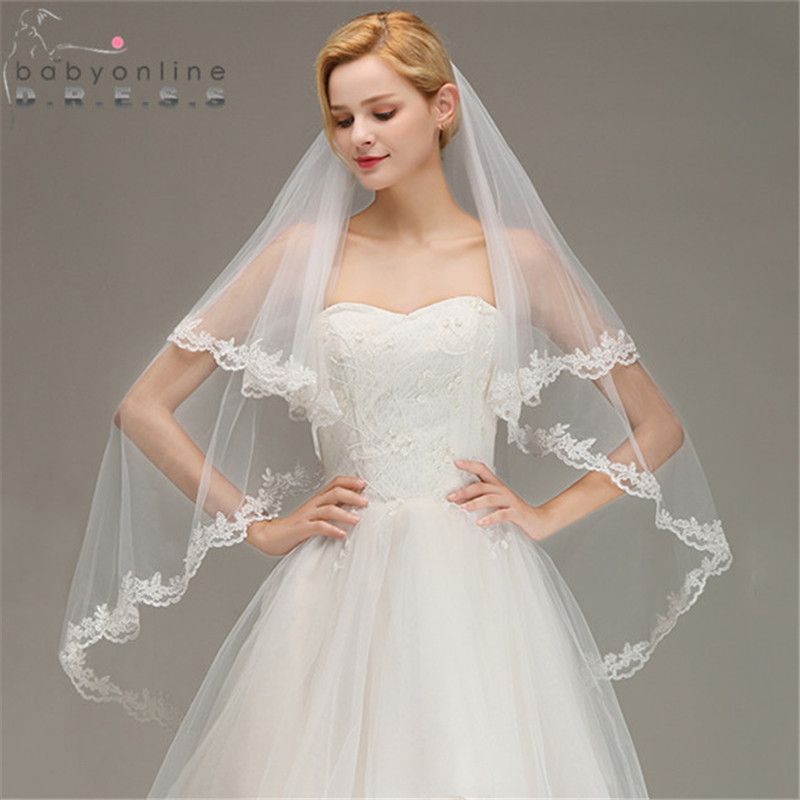 Veu De Noiva Two Layers Lace Edge White Ivory Short Wedding Veil With Comb Soft Tulle Bridal Veil Voile Mariage