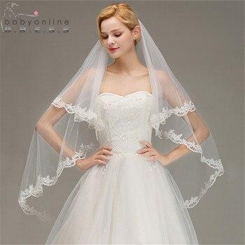 f4f9c2d323 Nueva princesa velos de boda con apliques corto Blanco Marfil romántica boda  accesorios elegantes 2 capas de velos de novia con peine