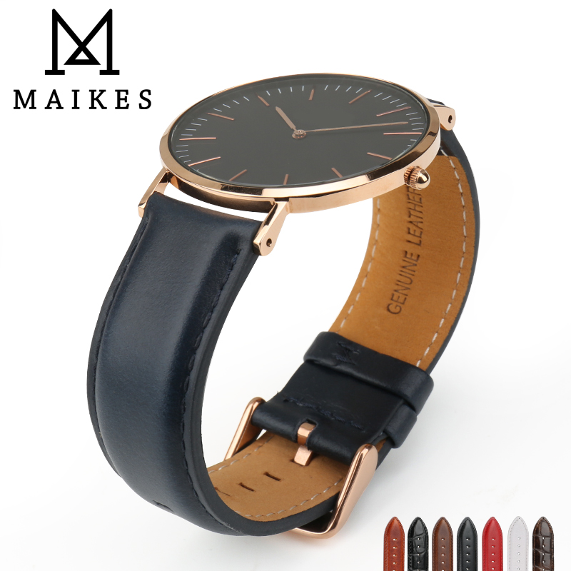 MAIKES High Qucality Watch Band 12mm-20mm Watch Accessories Strap Sliver Roes Gold Buckle Watchband Replacement Bracelets