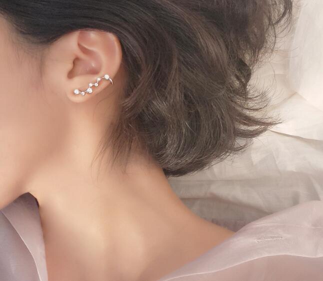 HTB1G R.cv5TBuNjSspcq6znGFXa2 1pair 100% Real. 925 Sterling Silver Fine Jewelry pRONG cz stone Climber Cuff Clip earrings new (NO pierced) gtle1936