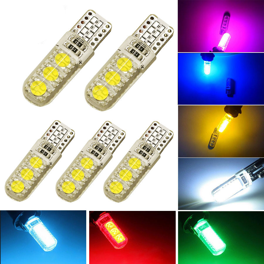 <font><b>100Pcs</b></font> Hight Quality <font><b>T10</b></font> W5W 6 SMD <font><b>CANBUS</b></font> 5050 Car Interior Led Lights 12V 6 led Waterproof No Warning Error Free Lamps Bulbs image