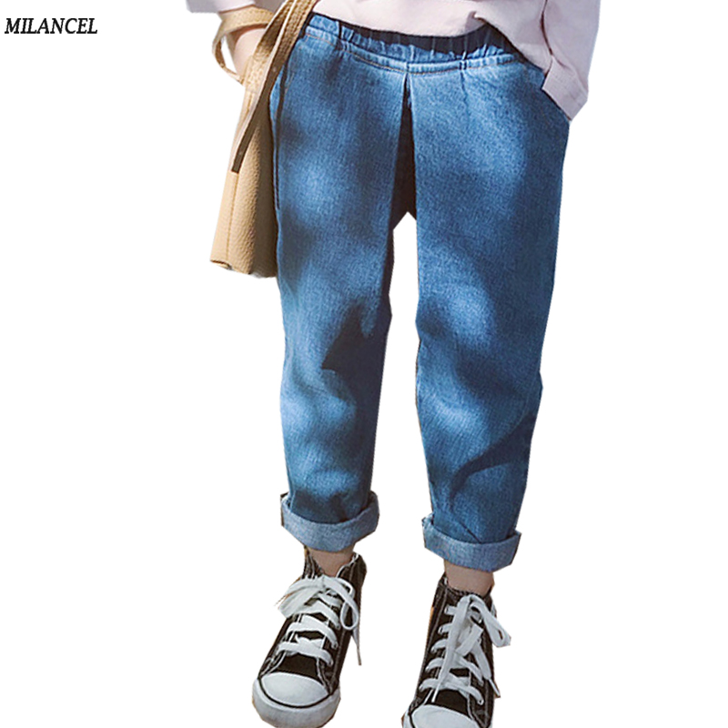 цена на MILANCEL 2018 Girls Jeans Solid Kids Boys Jeans Casual Jeans for Children Pants Plain Girls Jeans Boy Denim Pants Spring Clothes