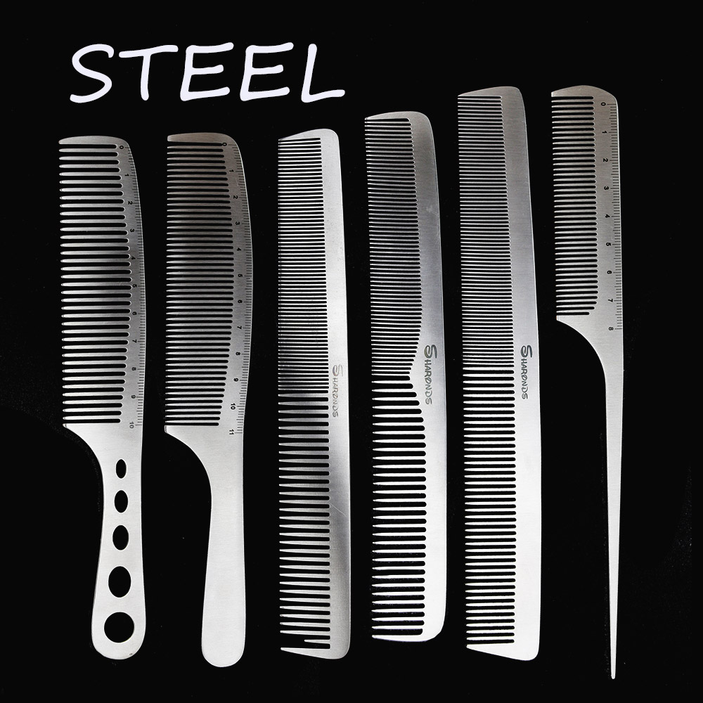 6 PcsNew Hair Comb For Hair Salon, 100% Hand Made Stainless Steel Hair Cutting Comb, Pro Hairdressing Steel Comb D-b1 3 Design