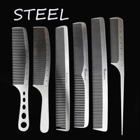 6 PcsNew Hair Comb For Hair Salon, 100% Hand Made Stainless Steel Hair Cutting Comb, Pro Hairdressing Steel Comb D b1 3 Design