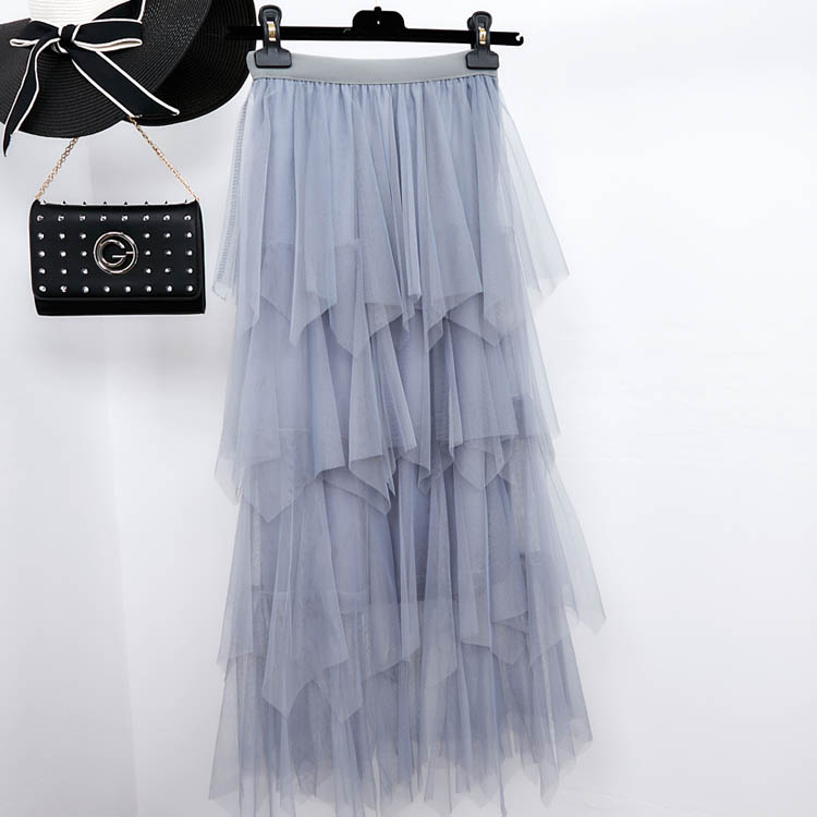 Women irregular Tulle Skirts Fashion Elastic High Waist Mesh Tutu Skirt Pleated Long Skirts Midi Skirt Saias Faldas Jupe Femmle 38