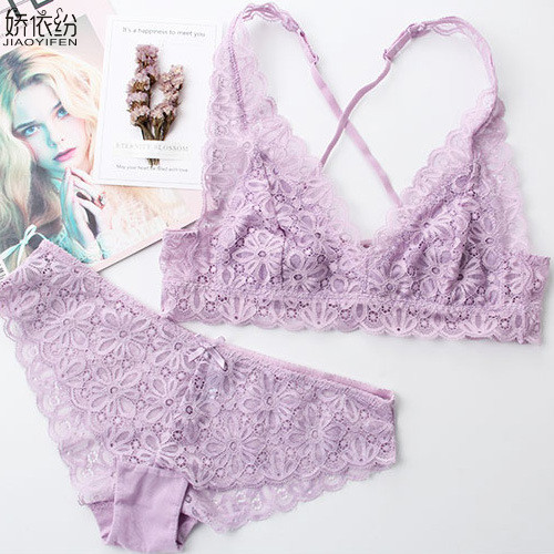 Image 4 - French Sexy Lace Ultra thin Bralette Back Type X Straps Comfortable Women's Underwear Elasticity Triangle Cup Push Up Bra Set-in Bra & Brief Sets from Underwear & Sleepwears