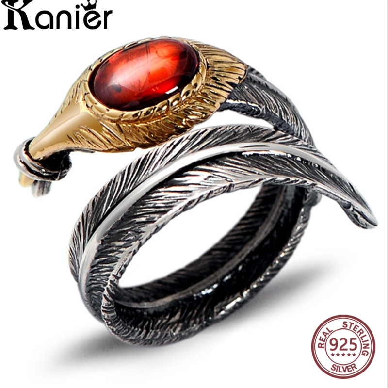 FANSER Antique Thai silver Ring Opening Solid 100% S925 Pure Silver garnet agate Women Fine Jewelry Classic