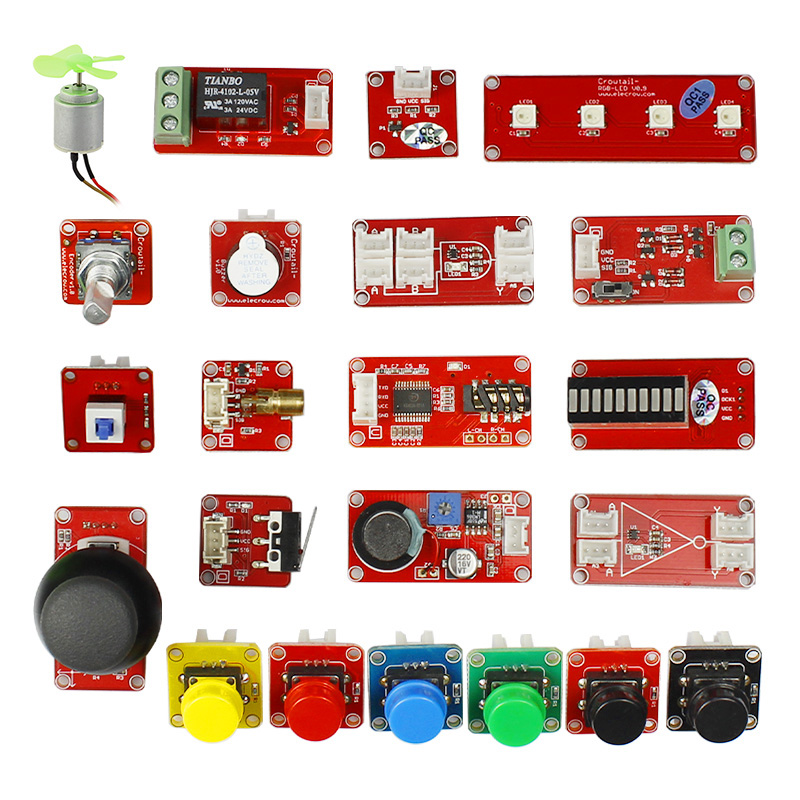 Kit d'apprentissage Elecrow Crowtail entrée et sortie fonction transducteur de commutation Modules bricolage Kit de combinaison pour la programmation Arduino