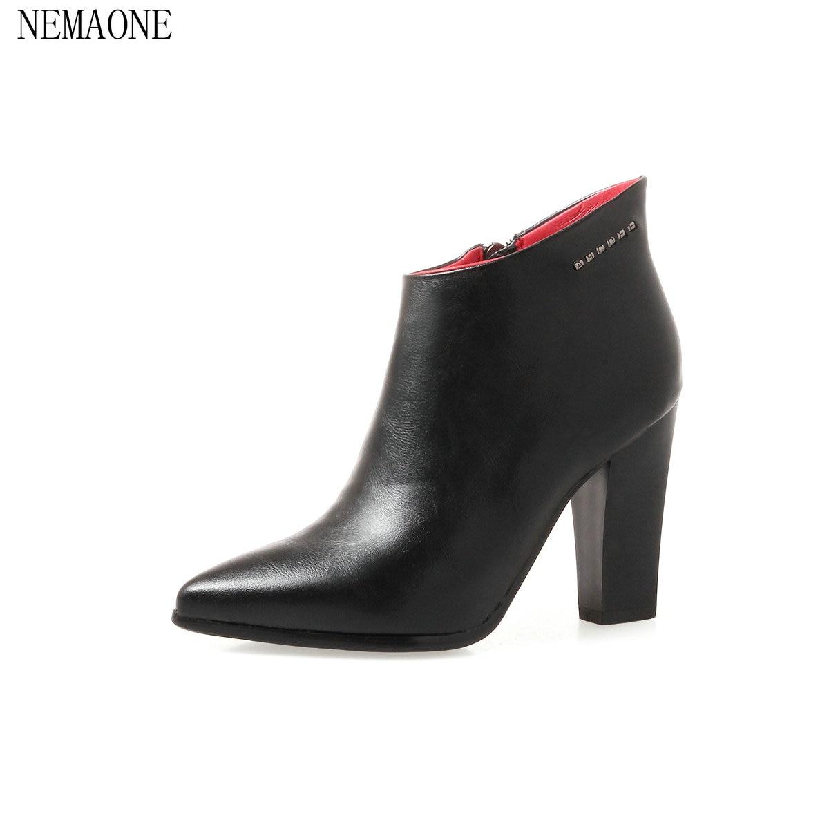 NEMAONE Woman Square High Heel Zipper autumn boots Short Ankle Boots Fashion Round Toe Dress Boots Black green