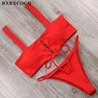 RXRXCOCO Solid Bikini Sets 2018 Sexy Sport Bikini Adjustable Buttom Swimsuit Women Padded Swimwear Summer Beachwear