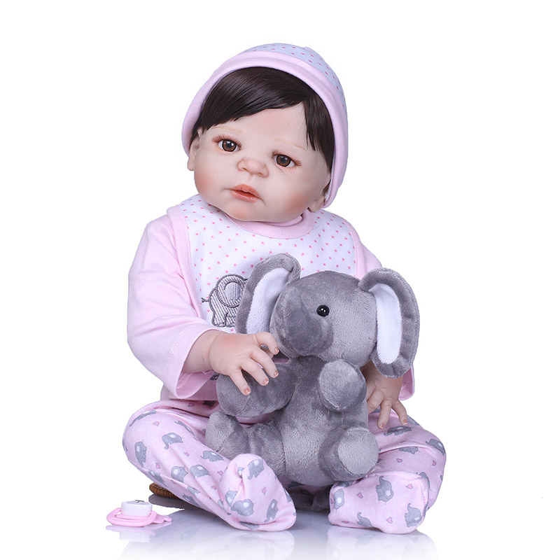 56CM Reborn Doll Full Body Silicone 3D Lifelike Jointed Newborn Doll Playmate Gift NSV775 56cm baby reborn doll full body silicone 3d lifelike jointed newborn doll playmate gift bm88