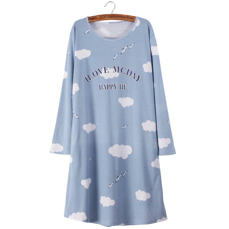 Brand New Female   Nightgowns  &  Sleepshirts   Korean Style Sweet Cotton Sleepwear Dresses for Women Comfy Cozy Navy Blue   Sleepshirts