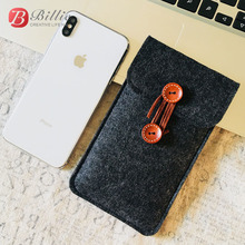 Handmade Wool Felt Phone Case Wallet Bag For iPhone X XS XS MAX Mobilephone Pouch Sleeve Bag Cover For Apple iPhone XR 6.1