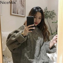 hot deal buy nicemix 2019 autumn vintage sweater women pullovers knitted argyle loose casual knitwear woman clothes pull femme jersey mujer