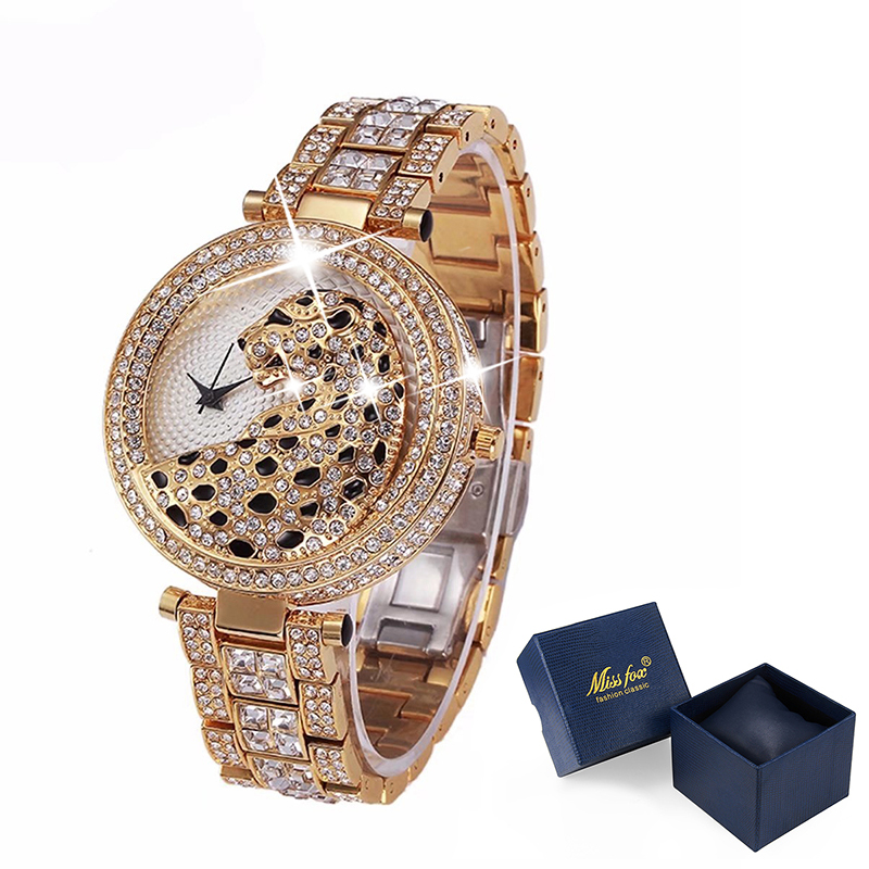 MISSFOX 30m Life Waterproof Gold Women Quartz Watch Fashion Bling Casual Ladies Watches Crystal Diamond Leopard for Women Clock