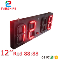 88:88 led time temperature sign/ led gas station display/ large outdoor digital clock temperature display 12 inch single red